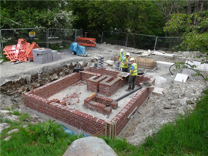 Cable trench brickwork for the sub-station now complete 8 June 2015