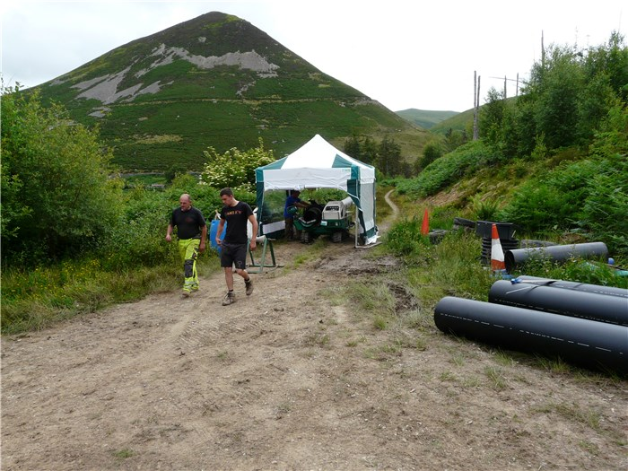 Pipe welding starts in Coedydd Aber Forest  2 July 2015