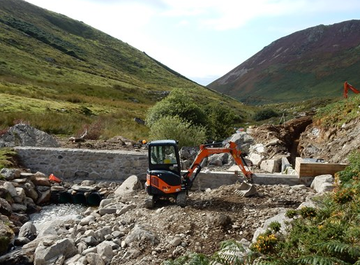 Stone work on south banl complete and the trench dug for the pipline from the weir 6 Sept 2015