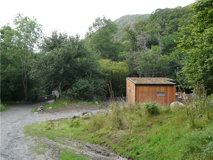The completed turbine house returning from the Aber Falls 22 Aug 2015