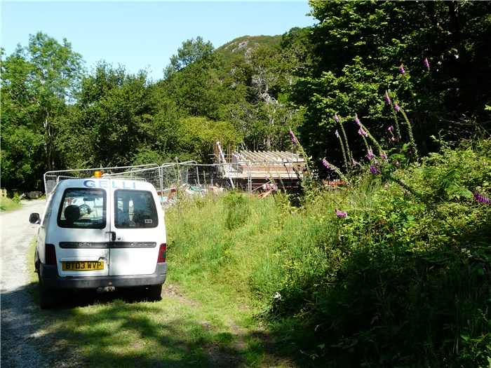 The first sight of the turbine house returning down the Aber Falls path  15 July 2015