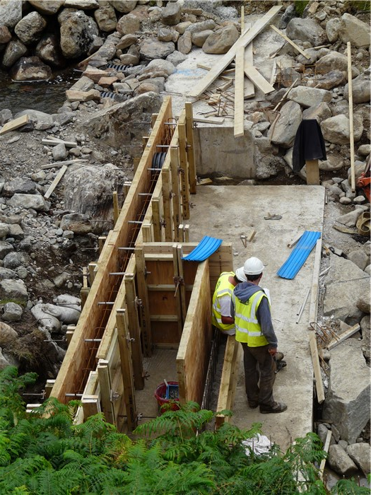 Shuttering for the weir wall in place 11 Aug 2015
