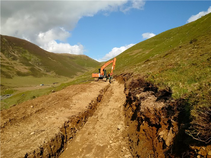 The trench for the first 130m of pipe is open 3 June 2015